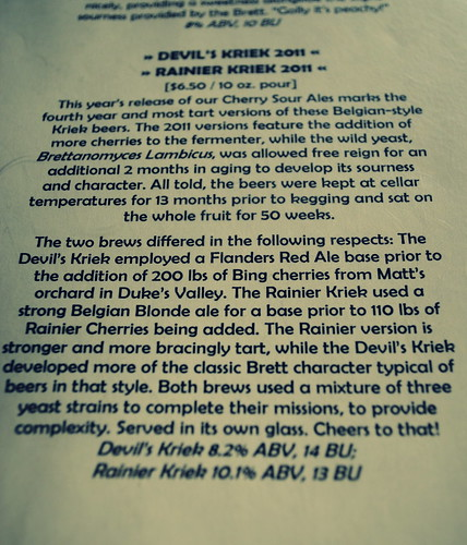 Devil's Kriek at Double Mountain Brewery - Hood River, Oregon