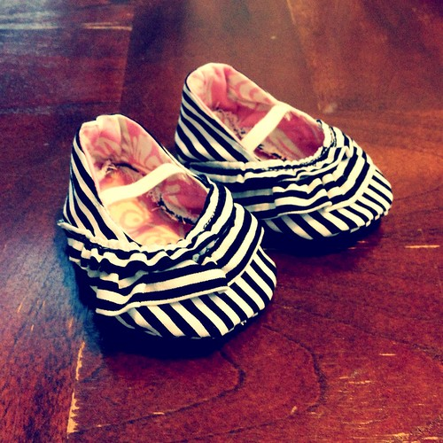 Stripped baby girl booties
