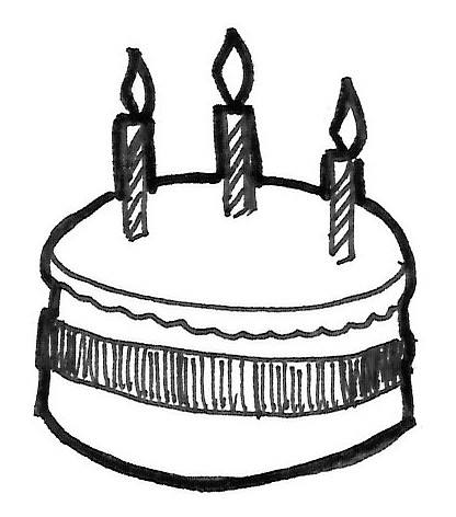 Simple birthday cake sketches sketch coloring page view larger image image sciox Image collections