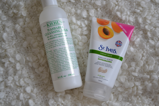 daisybutter - UK Style and Fashion Blog: skincare routine, daily skincare, review, kiehl's, st ives, liz earle super skin repair, lancome, caudalie beauty elixir
