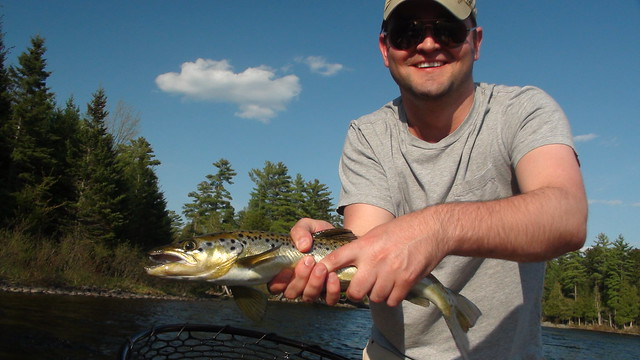 Scott with a solid Landlocked Salmon from the Kennebec River