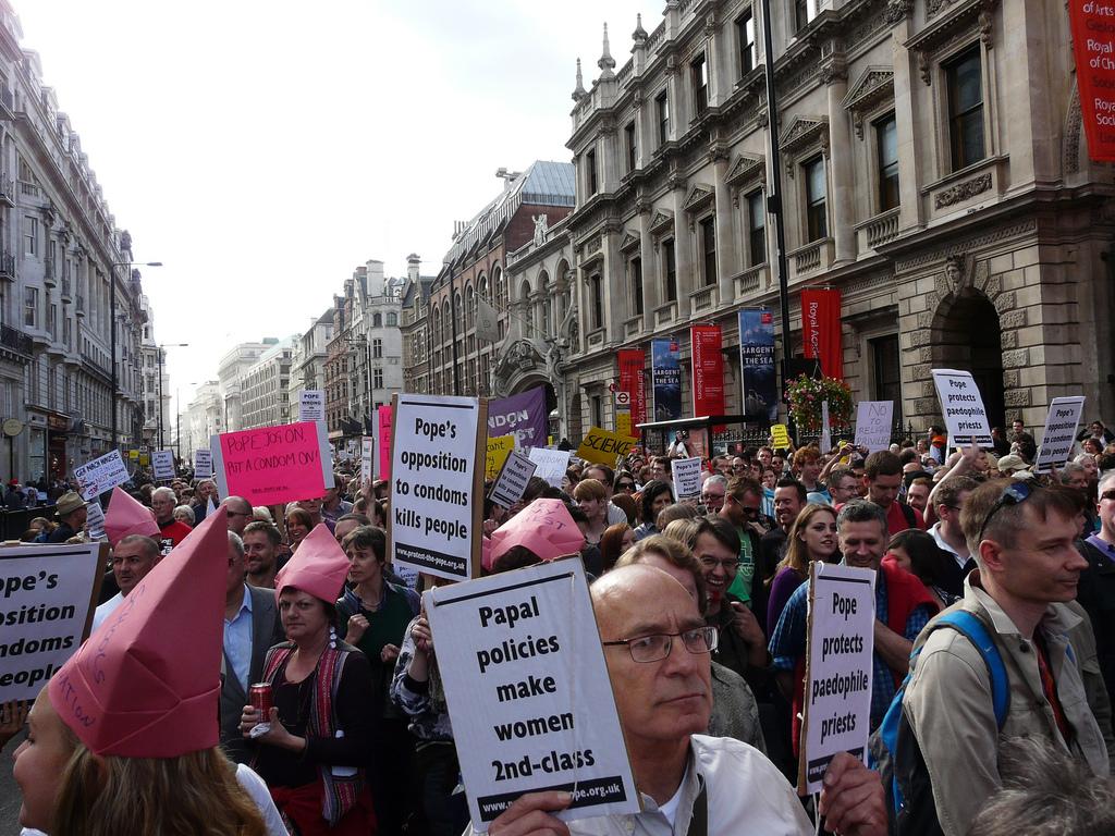Protesting Pope Benedict XVI