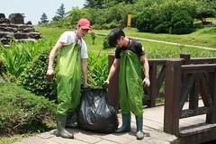 一大袋銅錢草,連兩個大男人搬都感吃力的驚人重量(攝影:郭秉鋐)