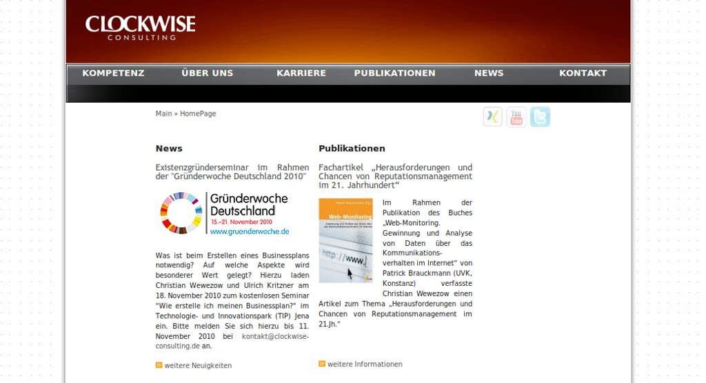 Website of clockwise-consulting
