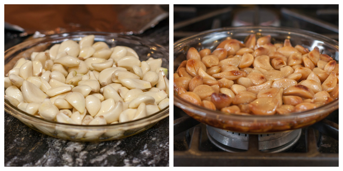 Roasting garlic - before and after