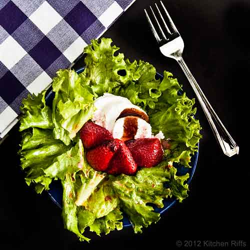 Roast Strawberry Salad with Goat Cheese, Overhead View with Fork and Napkin