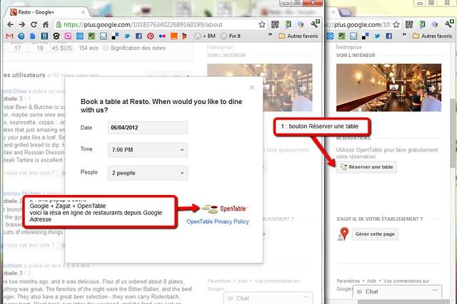 Reserver une table directement depuis Google + Places avec OpenTable ... uniquement aux USA pour l'instant... mais bientot en France sans doute :)
