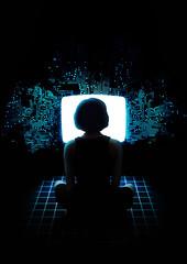 [フリー画像素材] グラフィック, フォトレタッチ, 人物, 人物 - 後ろ姿, シルエット, PC・パソコン ID:201206101800