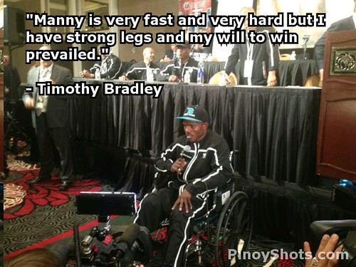 Timothy Bradley on wheelchair