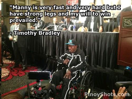 Timothy Bradley on wheelchair