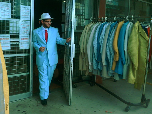 Scott Hannan at the Soul Train Suit Warehouse. Photo by Melanie Merz.