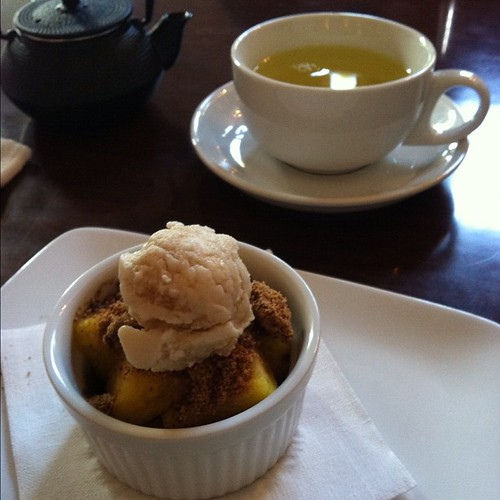 Pineapple crumble and tea.