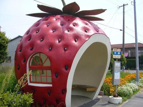 strawberry-shaped bus stop, Konagai, Japan (courtesy of Inhabitat)