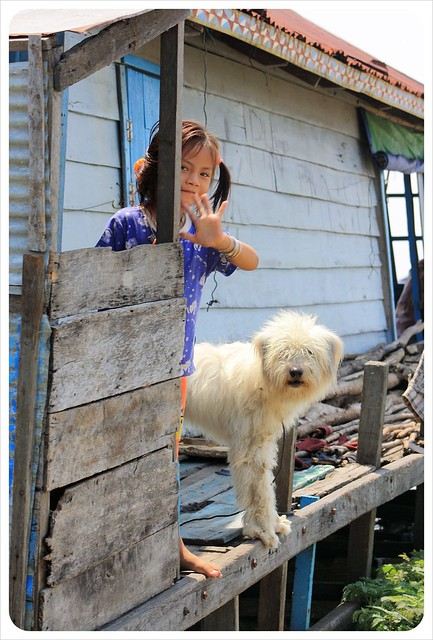 tonle sap floating village girl with dog