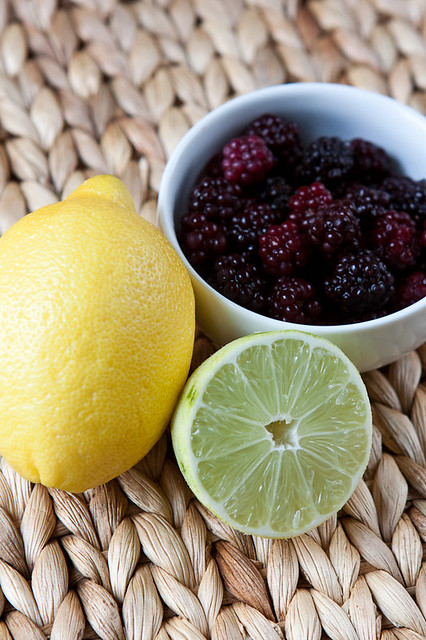 Lemon, lime and blackberries