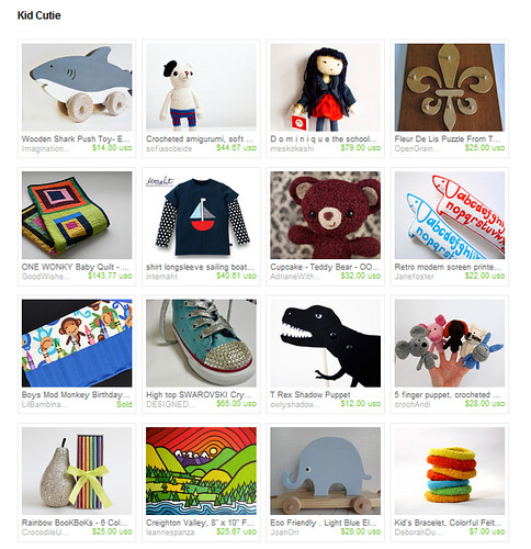 kid cutie treasury on etsy