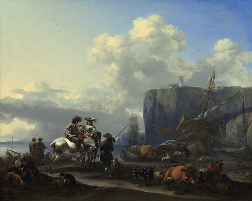 Nicolaes Pieterszoon Berchem - View of an Italian Port by Gandalf's Gallery