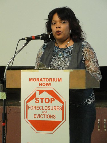 Andrea Egypt of the Moratorium NOW! Coalition to Stop Foreclosures, Evictions and Utility Shut-offs in Detroit. Egypt was moderating the second session of the National Conference for a Moratorium on Foreclosures in Detroit. (Photo: Bryan Pfiefer) by Pan-African News Wire File Photos