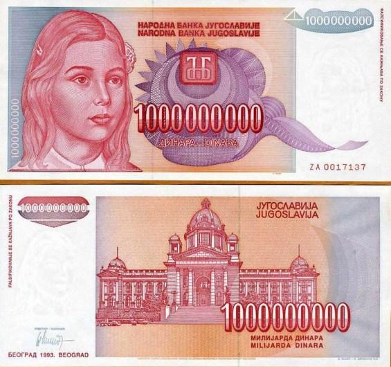 1 000 000 000 Dinárov Juhoslávia 1993, Pick 126