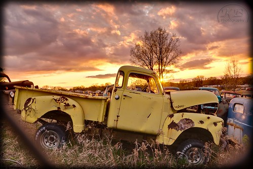 old sunset orange abandoned broken yellow metal clouds truck landscape dead evening junk flickr glow dusk wheels rusty pickup tires hotrod weathered hdr dilapidated facebook