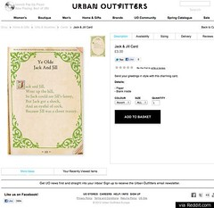 "Screen shot of Urban Outfitters' ""charming"" greeting card as displayed on the store's website. The card is written in old-fashioned script with swirls around the margins."