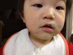 クレヨンで顔に描いちゃったとらちゃん(2012/4/12)