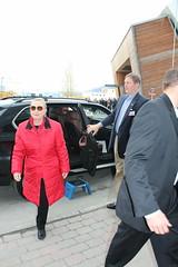 Hillary arrives at the Fram Centre
