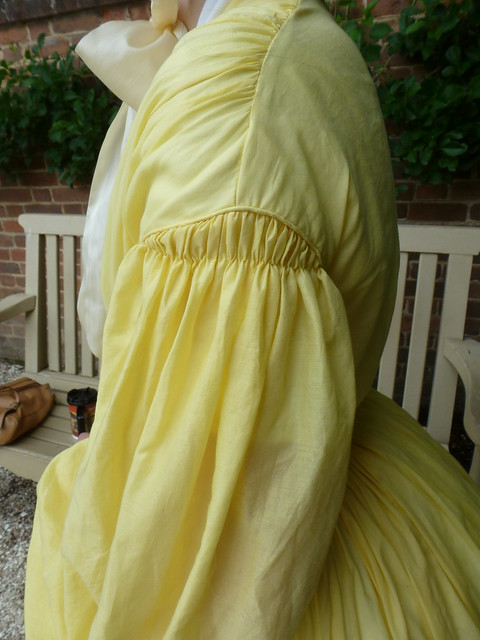 Yellow cotton voile dress, c1860