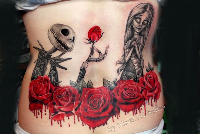 Jack and sally tattoo by mirek vel stotker flickr for Jack skellington and sally tattoos