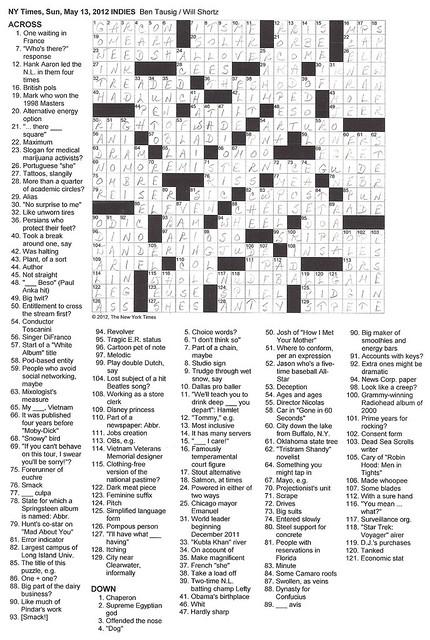 NYT Sunday Puzzle - May 13, 2012
