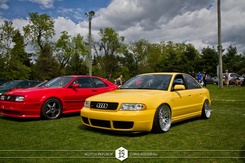 imola yellow b5 audi s5 low and fitted on ccw classics at staggered 2012