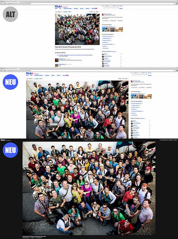 Vergleich der alten und neuen Fotogrößen auf der Fotoseite