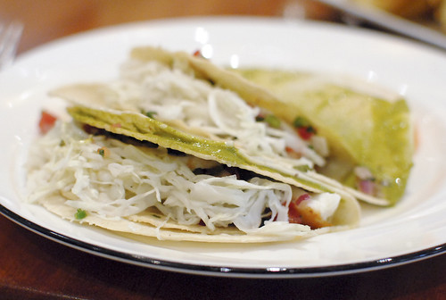 fish tacos pico de gallo, shredded cabbage, chipotle cream