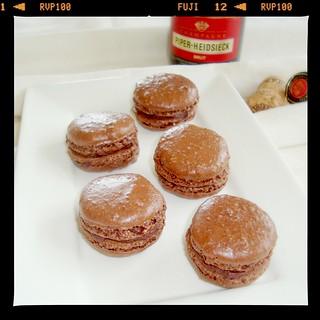 Chocolate Champagne Macarons