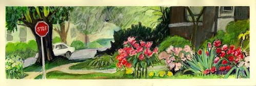 spring urbanlandscape cedarfallsiowa whitegelpen neocoloriiwaxpastels marciamilnerbrage