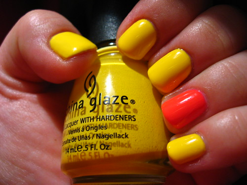 China Glaze accent mani