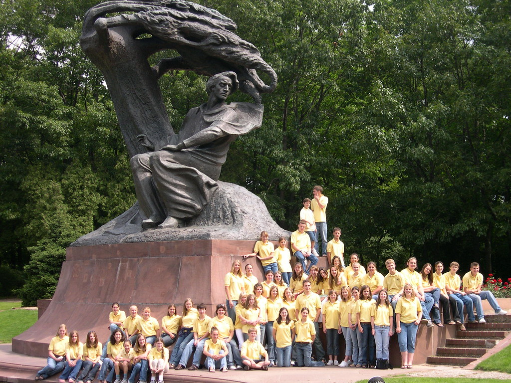Seattle Children's Chorus at the Chopin monument in Warsaw