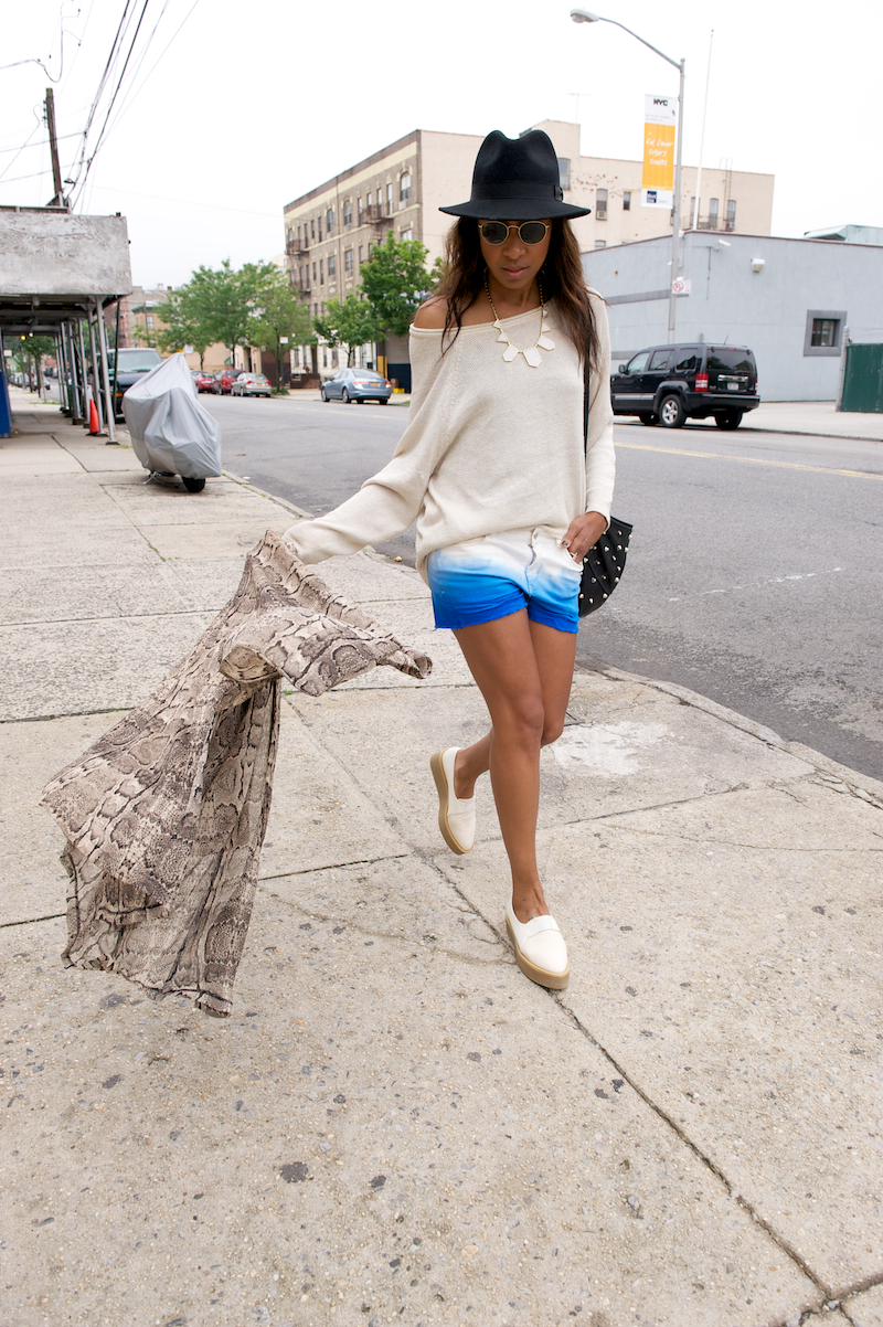 H&M white ombre shorts and creepers