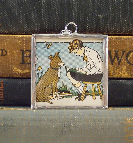 Boy and Dog Reading Pendant