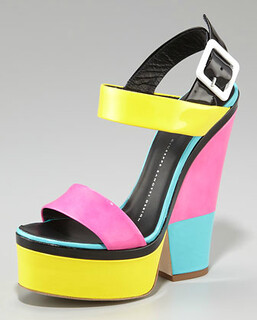 Giuseppe Zanotti Neon Colorblock Platform Sandal NM Retail $695 on sale for $465