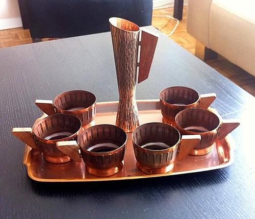 Atomic Copper Tea Set with Vase