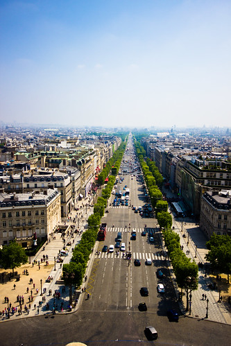 View of Champs-Élysées from atop of Arc de Triomphe