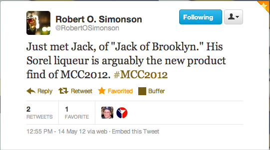 New York Times' cocktail writer, Robert Simonson, tweets praise for my client from our launch event
