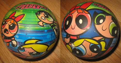 20120519 - yardsale booty - toy - Powerpuff Girls ball - IMG_4197-diptych-IMG_4198