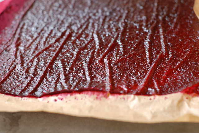 Cherry fruit leather out of the oven by Eve Fox, Garden of Eating blog, copyright 2012