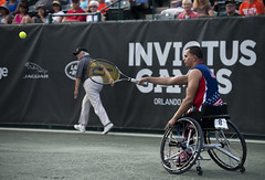 Retired Chief participates in wheelchair tennis during Invictus Games 2016.
