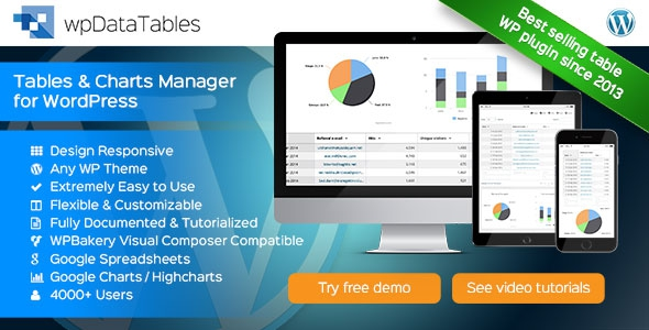 wpDataTables v1.6.2 - Tables and Charts Manager for WordPress