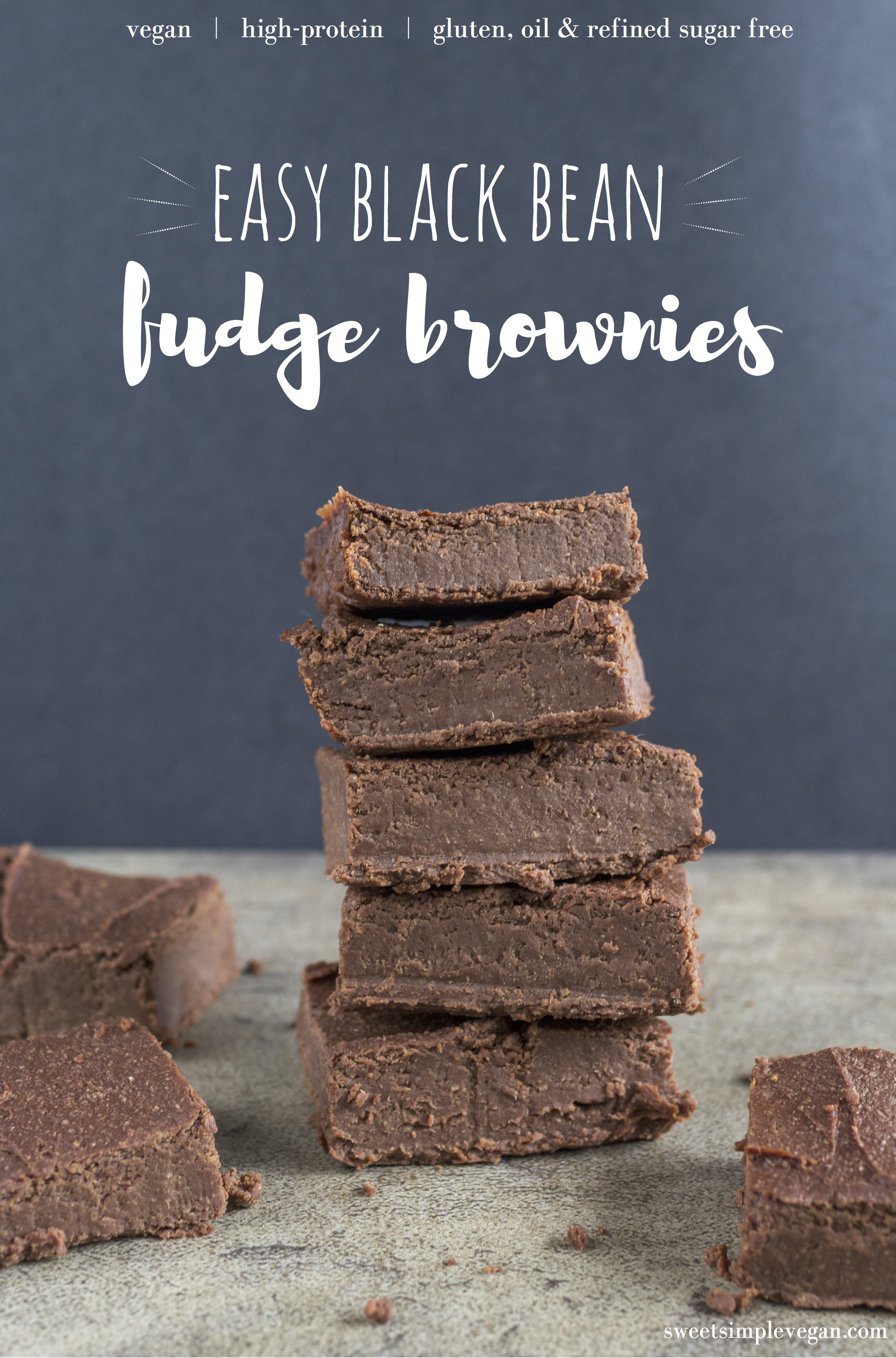 Easy Black Bean Fudge Brownies {high protein, gluten- & oil- and refined sugar-free} sweetsimplevegan.com