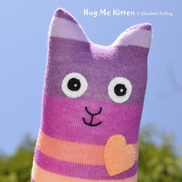 Hug Me Sock Kitten, handmade art toy by Elizabeth Ruffing