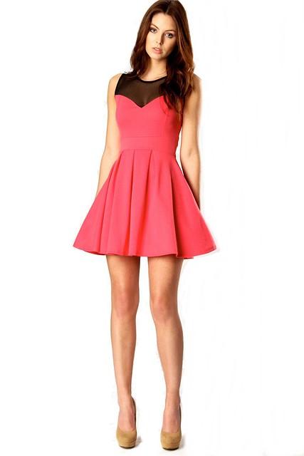Cheryl Mesh Top Skater Dress